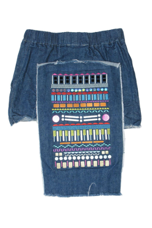 JEANS EMBROIDERY SKIRT - 1