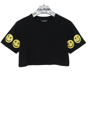 €Smiley Cropped T-Shirt
